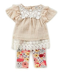 Image of Rare Editions Baby Girls 12-24 Months Lace-Border Top & Floral-Print Leggings Set