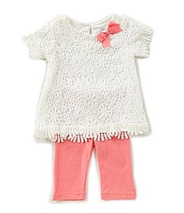 Image of Rare Editions Baby Girls 12-24 Months Scalloped Floral-Lace Top & Solid Leggings Set