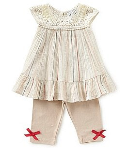 Image of Rare Editions Baby Girls 12-24 Months Striped Gauze Dress & Solid Leggings Set