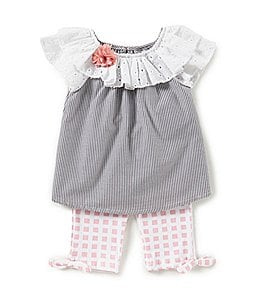 Image of Rare Editions Baby Girls 12-24 Months Striped Top & Checked Leggings Set