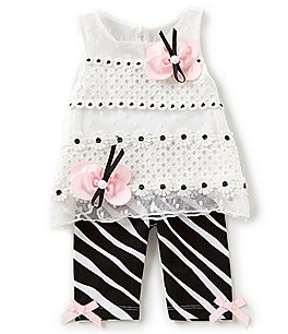 Image of Rare Editions Baby Girls 3-24 Months Butterfly-Applique Lace Top & Zebra-Stripe Leggings Set