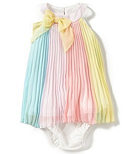 Image of Rare Editions Baby Girls 3-24 Months Color Block Paneled Chiffon Dress