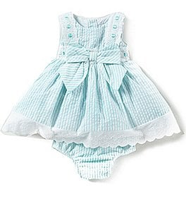 Image of Rare Editions Baby Girls 3-24 Months Eyelet-Embroidered Seersucker Dress