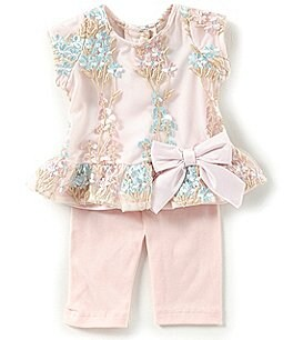 Image of Rare Editions Baby Girls 3-24 Months Floral-Embroidered Mesh Dress & Solid Leggings Set