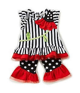 Image of Rare Editions Baby Girls 3-24 Months Vertical-Stripe Top & Dotted Leggings Set