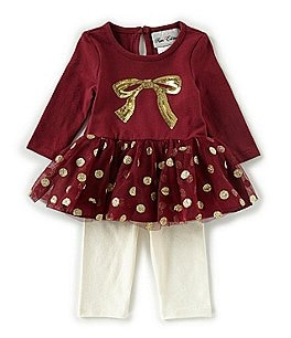 Image of Rare Editions Baby Girls 3-9 Months Bow/Dotted Tutu Tunic & Solid Leggings Set