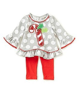 Image of Rare Editions Baby Girls Newborn-24 Months Christmas Candy Cane Top & Leggings Set
