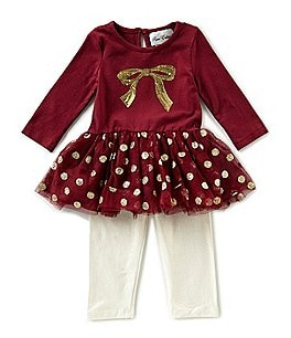 Image of Rare Editions Baby Girls Newborn-24 Months Dotted Bow Top & Solid Leggings Set