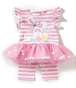 Image of Rare Editions Baby Girls Newborn-24 Months Easter Bunny Tutu Dress & Striped Leggings Set