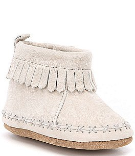 Image of Robeez Baby Boys' Suede Fringe Newborn-24 Months Ankle Moccasin Crib Shoes