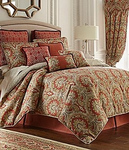 Image of Rose Tree Harrogate Paisley Damask & Geometric Diamond Comforter Set