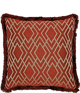 Image of Rose Tree Harrogate Fringed Geometric Diamond Reversible Square Pillow