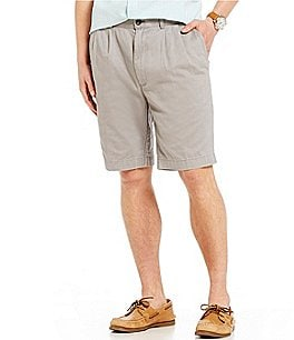 Image of Roundtree & Yorke Casuals Double-Pleat Washed Twill Shorts