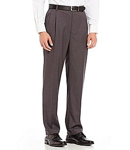Image of Roundtree & Yorke Travel Smart Ultimate Comfort Classic Fit Pleat Front Non-Iron Twill Dress Pants