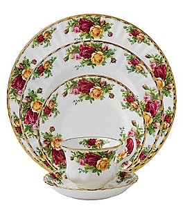 Image of Royal Albert Old Country Roses Vintage Floral Bone China 5-Piece Place Setting