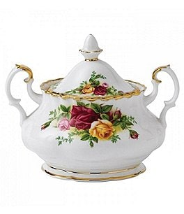 Image of Royal Albert Old Country Roses Vintage Floral Bone China Sugar Bowl with Lid
