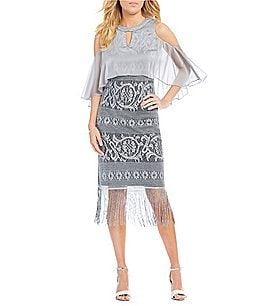 Image of S.L. Fashions Cold Shoulder Chiffon Popover Dress