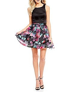 Image of Sequin Hearts Floral Striped Skirt Two-Piece Dress