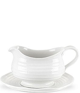 Image of Sophie Conran for Portmeirion White Porcelain Gravy Boat with Stand