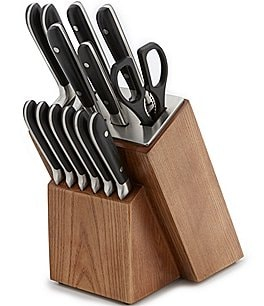 Image of Southern Living 14-Piece Riveted Cutlery Set with Ash Wood Block