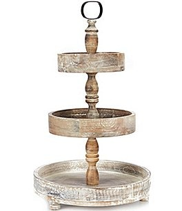 Image of Southern Living Festive Fall Collection 3-Tier Wood Server