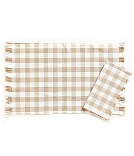 Image of Southern Living Fringed Buffalo Check Table Linens
