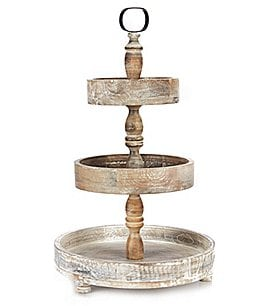 Image of Southern Living Festive Fall Collection Burnt White Washed 3-Tier Round Wood Server