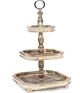Image of Southern Living Festive Fall Collection Burnt White Washed 3-Tier Square Wood Server