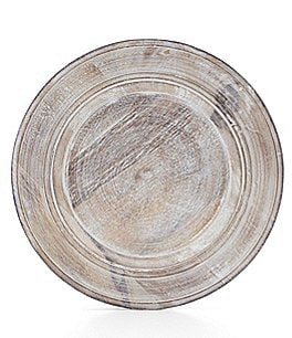 Image of Southern Living Burnt Whitewashed Mango Wood Charger Plate