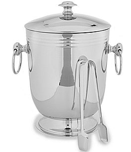 Image of Southern Living Classic Ribbed Ice Bucket with Tongs