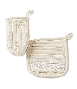Image of Southern Living Embroidered Pot Holder & Oven Mitt Set