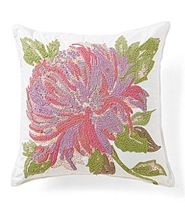 Image of Southern Living In Bloom Collection Flora Flower-Embroidered Square Pillow