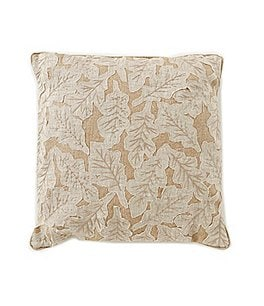 Image of Southern Living Harvest Collection Leaf-Appliquéd Linen & Hemp Square Pillow