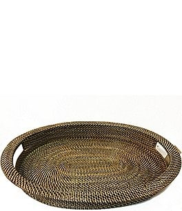 Image of Southern Living Nito Woven Oval Serving Tray with Handles