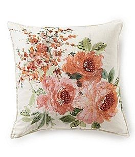 Image of Southern Living Spring Collection Embroidered Flower Square Pillow
