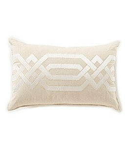 Image of Southern Living Tyndale Geometric-Embroidered Melange Chambray Pillow