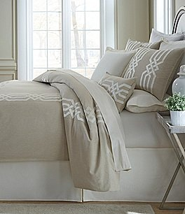 Image of Southern Living Tynedale Embroidered Chambray Duvet Mini Set