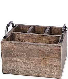 Image of Southern Living Spring Collection Weathered Mango Wood Utensil Caddy with Iron Handles