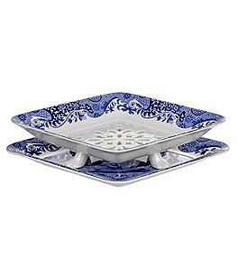 Image of Spode Blue Italian 200th Anniversary 2-Piece Fruit Strainer