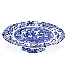 Image of Spode Blue Italian Footed Cake Plate