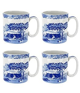 Image of Spode 4-Piece Blue Italian Mug Set
