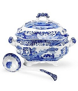 Image of Spode Blue Italian Soup Tureen with Ladle
