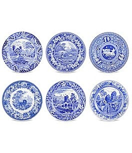 Image of Spode 6-Piece Blue Italian Traditional Scene Plates Set