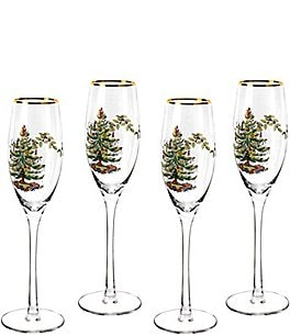 Image of Spode Christmas Tree Champagne Fluted Glasses Set of 4