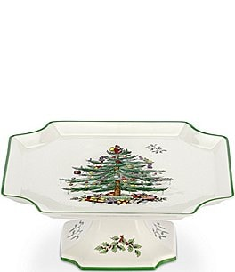 Image of Spode Christmas Tree Footed Square Cake Plate
