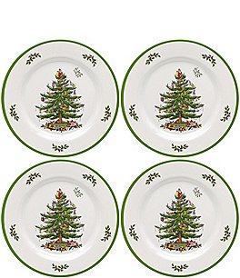 Image of Spode 4-Piece Christmas Tree Melamine Dinner Plate Set