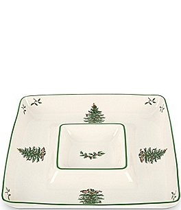 Image of Spode Christmas Tree Square Chip & Dip Server