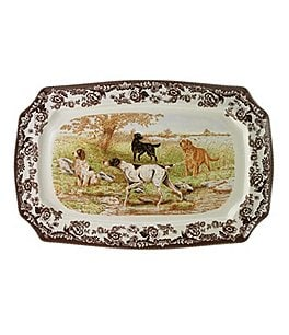 Image of Spode Festive Fall Collection Woodland Hunting Dogs Rectangular Platter
