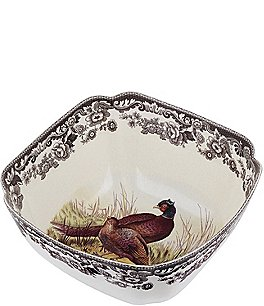 Image of Spode Festive Fall Collection Woodland Pheasant Deep Square Serving Bowl