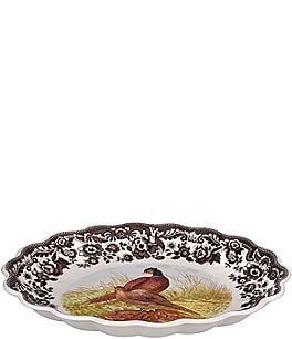 Image of Spode Festive Fall Collection Woodland Pheasant Oval Fluted Dish